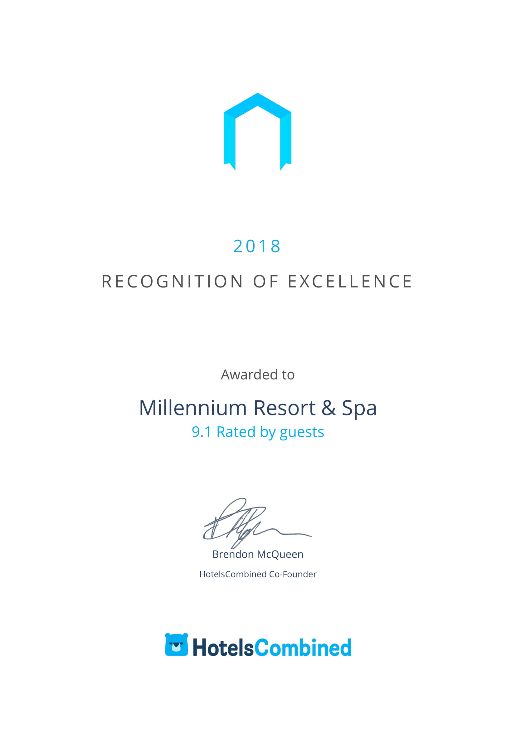 Millennium Resort & Spa Best Hotels Award